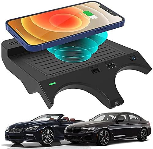 QXIAO Almohadilla de Carga Rápida para Cargador de Teléfono de 10 W,para BMW 5 Series M5 2017-2021 / BMW 6 Series M6 2018-2019 Cargador de Coche Inalámbrico Panel de Accesorios de Consola Central