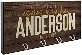 Personalized Key Holder for Wall | Housewarming Gifts for Newlyweds, Customized Key Hanger, Wedding Gift for Couples with Walnut Background - D6