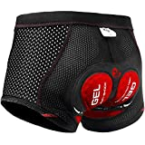 X-TIGER Men's Cycling Underwear Shorts 5D Padded Gel,MTB Biking Shorts Pants with Breathable,Adsorbent Design (Black Red, Asia X-Large)