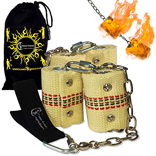 Pro Fire Poi Set - Double Burner - 4x65mm Wicks by Flames N Games + Travel Bag!
