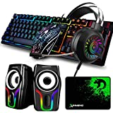Wired Gaming Keyboard Mouse Mouse Pad Set & Backlit Gaming Headset & Black