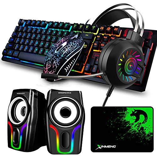 Wired Gaming Keyboard Maus Mauspad Set & Hintergrundbeleuchtetes Gaming Headset & Schwarzer RGB-Lautsprecher, 5 in 1, Rainbow LED Hintergrundbeleuchteter Tastaturmaus-Kopfhörer + 6 RGB-Lautsprecher