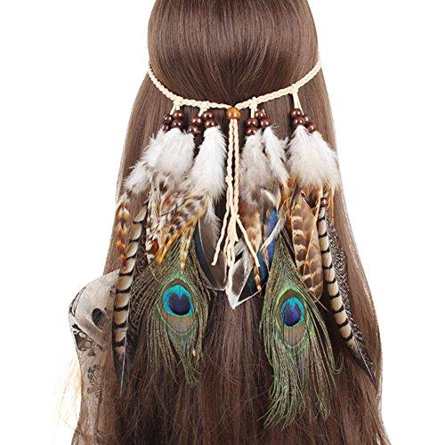 QtGirl Indian Feather Headband Tassel Hemp Rope Bohemian Hairband for Women Girls Festival Headdress
