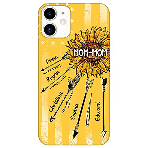 grandma phone cases Customized Mom-mom Sunflower with Kid's Name Phone Case Personalized Sunflower Phone Case Gift for Grandma Mom Mommy