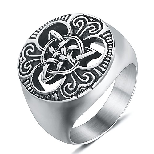 enhong Mens Celtic Knot Signet Rings Round Vintage Stainless Steel Ring for Biker Size 11