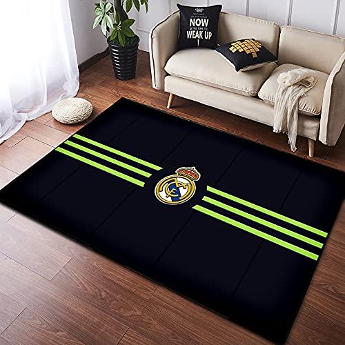 Alfombra para niños Rectángulo Negro Fresco Simple Moderno Nórdico Real Madrid Amantes del fútbol Equipo Estrella Niño Dormitorio Alfombra para Adultos 80 * 120 cm