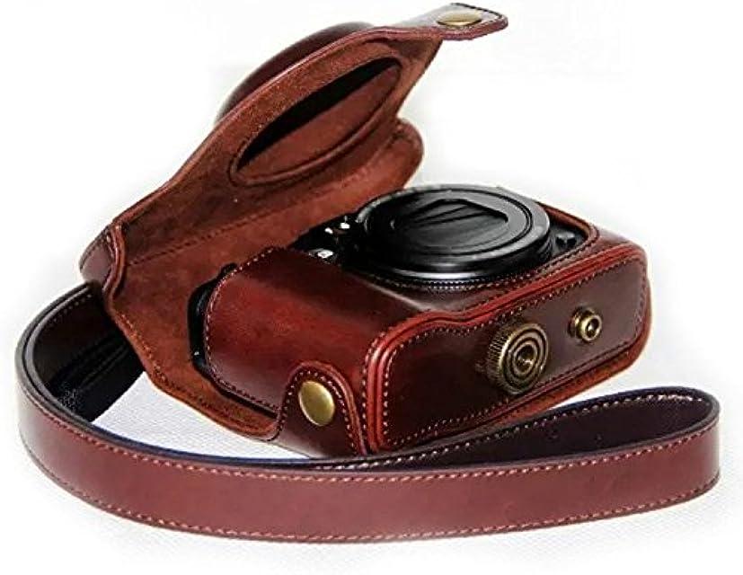 First2savvv XJPT-G16-A10 cuerpo completo ajuste preciso de cuero de la PU cámara digital bolsa caso cubierta con correa para Canon PowerShot G15 G16