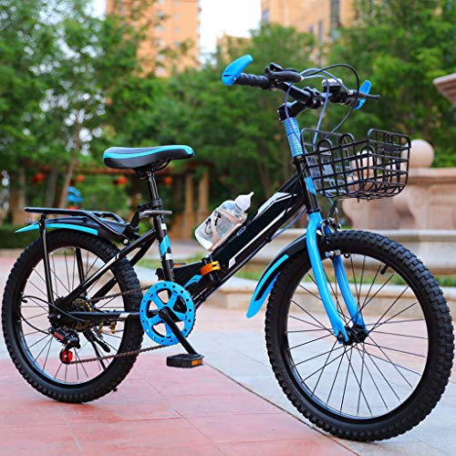 TXTC Kids Folding Bikes,Mountain Bike, Kids Bike with Water Bottle Holder,Comfortable Adjustable Saddle,Reinforced Rear Shelf Best Gift for Kids (Color : Blue, Size : 20inch)