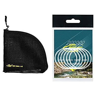 SF Pre-Tied Loop Fly Fishing Tapered Leader Nylon(6 Packs) 7.5ft 9ft 12ft 0X 1X 2X 3X 4X 5X 6X 7X