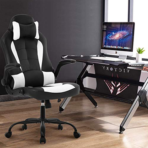 OffiClever Racing Style Office High Back Desk Executive PU Leather Rolling Task...