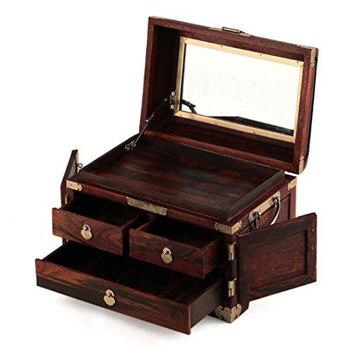 Inconnu Keepsake Storage Chest-Hand Carved Floral Design Rustique Boîte à Bijoux en Bois Organisateur avec Miroir et Safe Lock