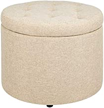 FIRST HILL FHW Round shoes stool with TAN Fabric