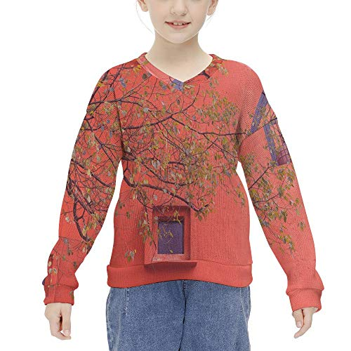 Red Floor Sweaters Castle Attack Crashers Knitted Pullovers for 6-12 Year-Old Girls Long Sleeve Pullovered Top for Kids
