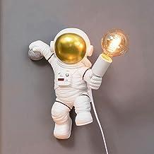 Nowoczesna lampa ścienna z wtyczką i kablem, lampa ścienna do pokoju dziecięcego dla chłopców i dziewczynek, astronauta la...