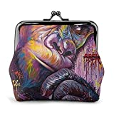 Orangutan Graffiti Coin Purse Wallet Buckle Kiss-Lock Small Leather Change Pouch Gift For Women