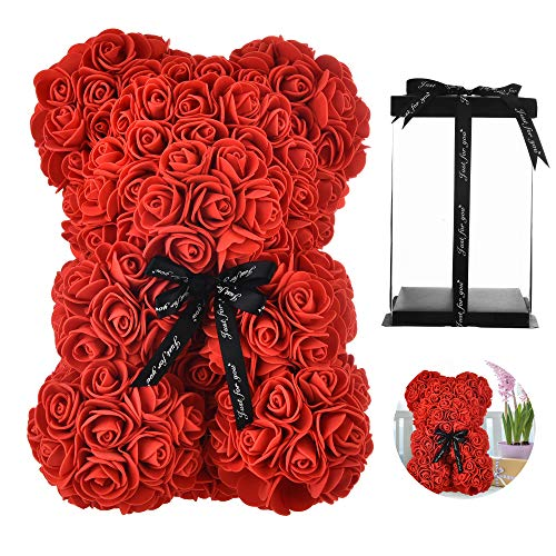 Rose Bear Hand Made Teddy Bear Flower Bear Rose Teddy Bear - Gift for Mothers Day, Valentines Day, Anniversary & Bridal Showers Weddings Clear Gift Box 10 inch (red)