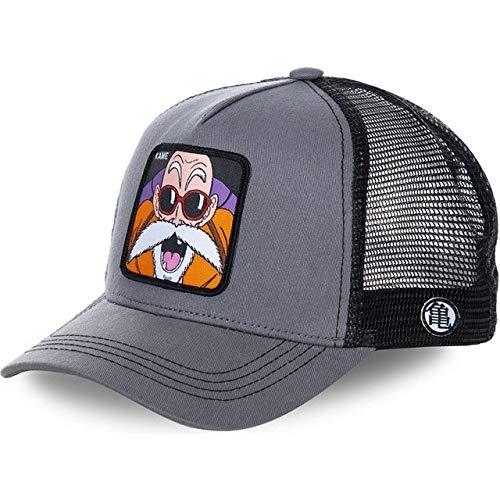 Gorra de béisbol Snapback de Dibujos Animados Hombres Mujeres Hip Hop Dad Mesh Trucker Hat-Kame Gray