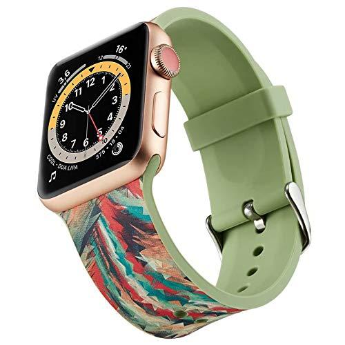 Miimall - Correa de reloj compatible con Apple Watch Serie 1, 2, 3, 4, 5, 6, SE, 44 mm, 42 mm, correa de silicona para iWatch serie 1, 2, 3, 4, 5, 6, 42 mm, 44 mm, color verde