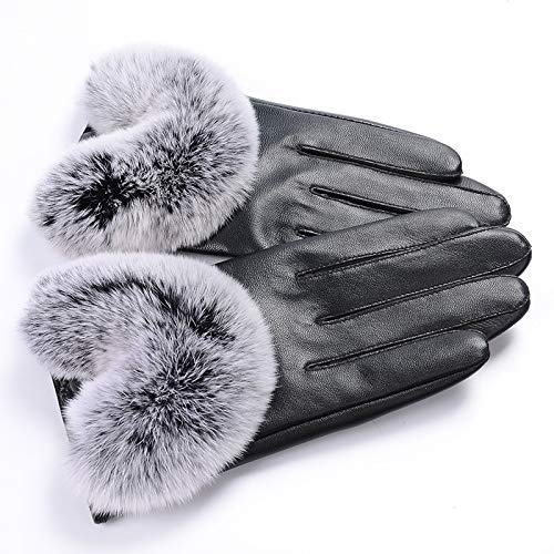 Hand Fellow best selling Ladies winter warm touchscreen genuine soft leather lambskin fashion driving black gloves Cashmere Lining Fleece Winter Gloves