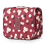 Mossio Hanging Toiletry Bag - Large Cosmetic Makeup Travel Organizer for Men & Women with Sturdy Hook (Wine Flower)