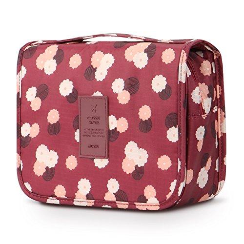 Bolsa de higiene para pendurar Mossio – Grande organizador de maquiagem de cosméticos para homens e mulheres com gancho resistente, Wine Flower, One Size