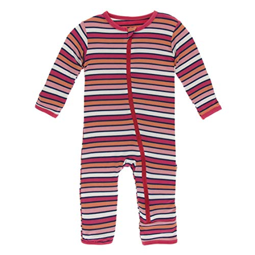 KicKee Pants Print Coverall with Zipper (6-9 Months, Botany Red Ginger Stripe)
