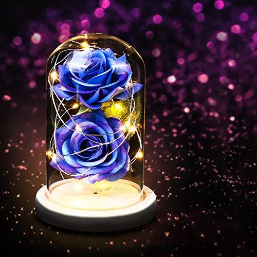 Flor de rosa en cúpula de cristal con guirnalda de luces LED, regalo para ella en cumpleaños, boda, día de San Valentín, día de la madre, aniversario