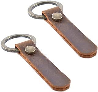 Jzcky Shzrp 2-Pack Simple Retro Leather Key Chain Key Holder Key Ring Organizer(PT100)