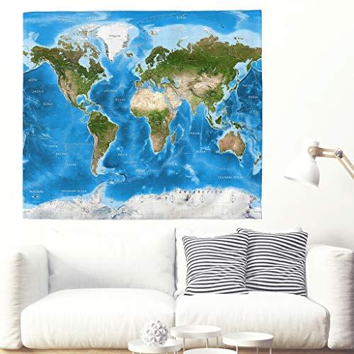 Mooie wereldkaart wandtapijt blauw tijdzones kaart wandtapijt tapijt geografie Ocean nautisch wandkleed mandala hippie strand gooien woonhuis wanddecoratie 230x150cm wit