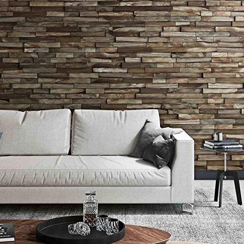 Holz Wandverkleidung mit 3d Paneelen aus verwittertem, recyceltem Holz von Nordje® (Elvar | Teak) - 3