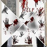ホラー ウォールステッカー 血の手形 血の足形 血痕 傷跡 シール 壁 ハロウィン デコレーション 飾り 怖い 装飾 インテーリア ハロウインパーティー・お化け屋敷・学園祭・ホラー系パーティー・窓・テーマパーティー 30x60cm