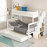 Twin Over Full Bunk Bed with Trundle and Stairs, WeYoung...