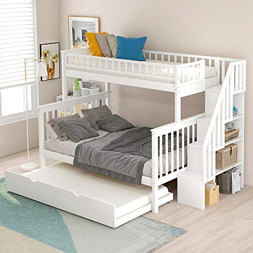 Twin Over Full Bunk Bed with Trundle and Stairs, WeYoung Wood Stairway Twin/Full Bed Frame with...