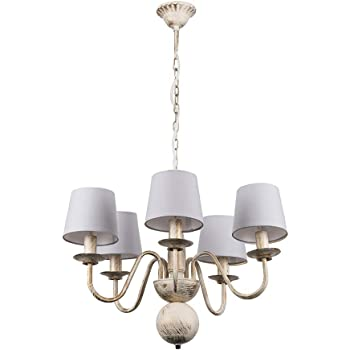 Distressed White Shabby Chic 5 Way Ceiling Light Chandelier