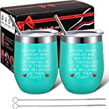 2 Pack Dance Teacher Appreciation Gift for Women, Customized End of Year Birthday Dance Teacher Gift for Dance Instructor , 12 oz Wine Tumbler Glass with Lids Straws and Brushes (Mint Green)