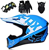 QDY Casque de Motocross pour Enfants, Casque de Moto intégrale pour vélo de saleté électrique pour Jeunes Adultes pour garçons Filles Quad Bikes BMX vélo VTT ATV Offroad DH Casque - Dot -