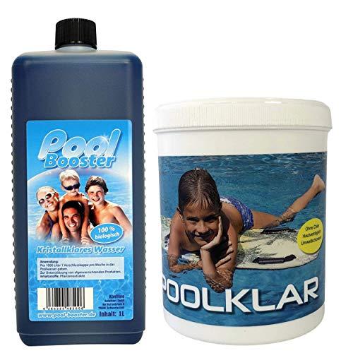 Pool Klar und Pool Booster Set - Unterstützend gegen Algen sowie braunes und grünes Poolwasser durch Verwendung von Brunnenwasser