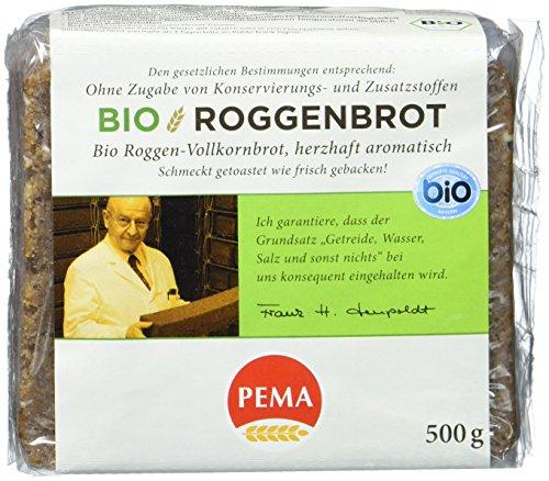 PEMA Bio Roggenbrot mit 100 % Roggen aus ökologischem Anbau, herzhaft-aromatisch, 6er Pack (6 x 500 g)