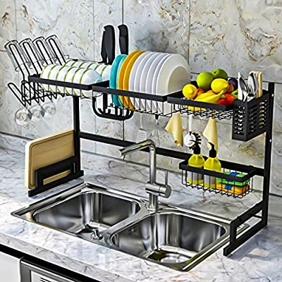 Asunflower Dish Organizer Rack 2 Tier Kitchen Sink Rack Stainless Steel Tableware Drainer Organizer Saves Counter Space - Over the Sink by