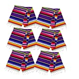 Neasyth Zarape Table Runner Mexican Serape Runners Chakra Tassel Handmade Tablecloth Mexican for Christmas Party Wedding Decorations 14 x 84 in (6 PCS)