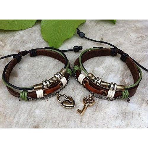3b60cfe8f5 Amazon.com: Couples Bracelet ,Key Lock Bracelet ,Lovers Leather Bracelet,  Personalized Jewelry , Anniversary Gifts: Arts, Crafts & Sewing