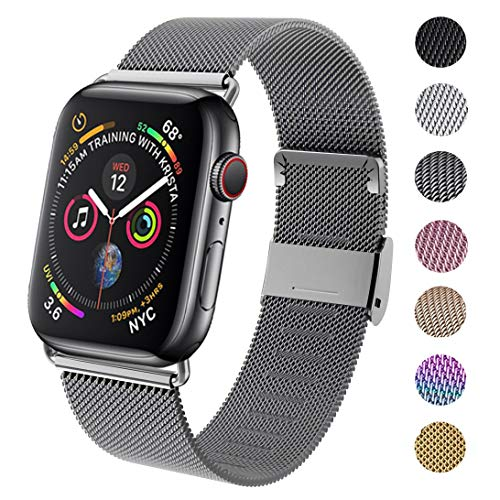 GBPOOT Compatible for Apple Watch Band 38mm 40mm 42mm 44mm, Wristband Loop Replacement Band for Iwatch Series 4,Series 3,Series 2,Series 1,Space Gray,38mm/40mm