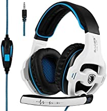 [Newest Version Xbox one Gaming Headset] SADES SA810 Over Ear Stereo Gaming Headset with Mic Bass Volume Control for Xbox One PS4 PC PC Laptop (Black& White )