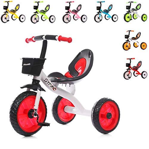 Chipolino Kinder Dreirad Strike ab 3 Jahre max. Traglast 25 kg komfortabler Sitz, Farbe:rot