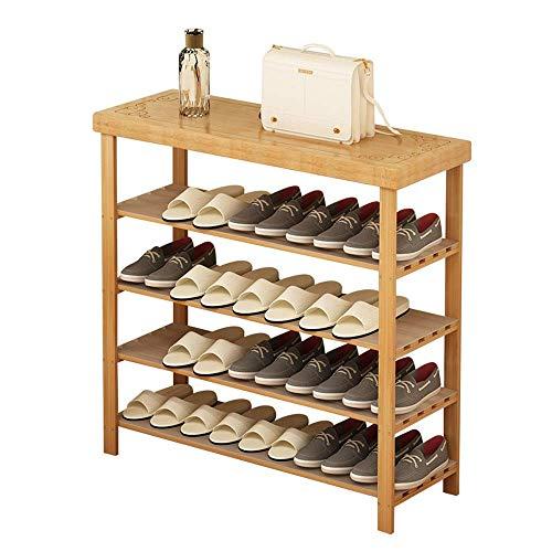 ShiSyan Zapato cremalleras 4 Nivel de bambú zapatero banco de almacenamiento del sostenedor del organizador 31,5 '' x 10,6 '' x 33,8 '' Ahorro de espacio Fácil Ensamble (Color: Natural, tamaño: 80 * 2