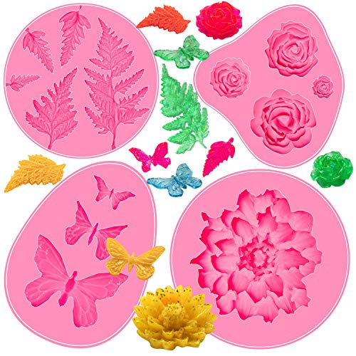 Cake Fondant Silicone Mold - 4Pcs Butterfly/Weed Leaf/Rose Flower/Water Lilies Cake Baking Candy Molds for Homemade Cake DIY Decoration