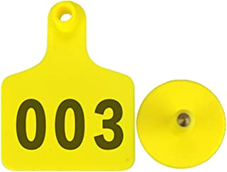 100 Pack Livestocktool Ear Tags For Pig Sheep Cattle Identification Yellow Green Yellow Plastic Blank Tags and 001-100 Tag for Animal (Customized)
