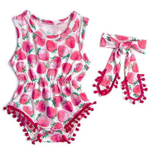 chicolife Baby Set Girl Newborn Baby Mädchen Junge Outfits Babykleidung mädchen Junge Strampler Bunte Erdbeer-Muster mit Quaste Casual Life Body Anzug Set
