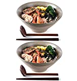 Ramen Soup Bowls, 2 Sets (6 Piece) 60 Ounce, Large Japanese Ceramic Serving Bowl with Matching Spoon and Chopsticks for Salad, Udon Soba Pho Asian Noodles, Imitation pottery