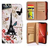 Bfun Packing iPhone XR Case,Bcov Paris Tower Butterfly Multifunctional Wallet Flip Case PU Leather Folio Cover with Credit Card Slot ID Card Holder Wrist Strap for iPhone XR